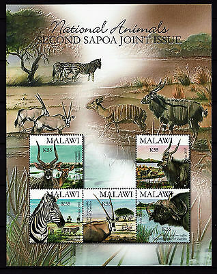 Malawi 2007 SAPOA National Animals Mini-Sheet, MNH (Zebra, Buffalo)