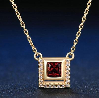 4mm 0.25ct Natural Garnet 14K Gold Plated Chain Pendant Necklace