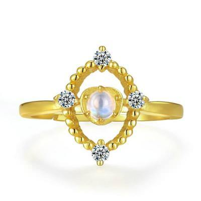 4mm Natural Moonstone 14K Yellow Gold Plated Wedding Ring