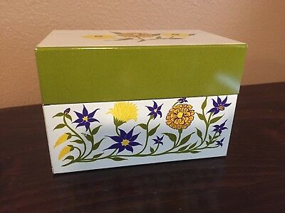 Vintage Recipe Box, Metal, Syndicate Mfg., Floral Green, Phoenixville, PA