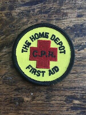 "Vtg Home Depot CPR First Aid 2"" Embroidered Patch Canada Employee Badge Sew On"