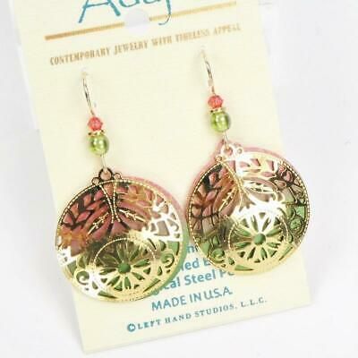 Adajio Earrings Large Disc in Coral and Olive with Shiny Gold Tone Deco Overlay