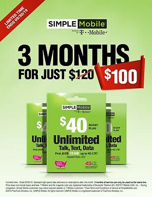 Simple Mobile Prepaid Sim $40 15Gb Lte Data Plan, 3 Months Plan Included
