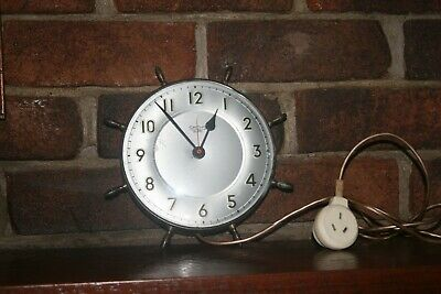 Vintage Smiths Sectric Electric Movement Maritime Metal Case Wall Clock 24 cm vg