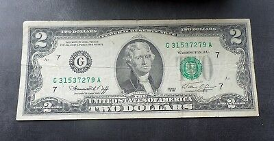 Authentic 1976 Two Dollar Bill (Chinese Zodiac Year of the Dragon) G Series