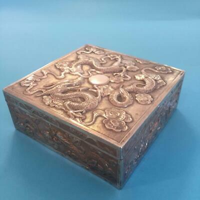 RARE Antique 19th Century Chinese Export Silver Wang Hing Dragon Cigarette Box