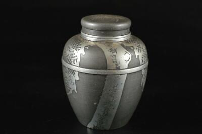 G2050: Japanese Old Tin Pine sculpture TEA CADDY Chaire Container Tea Ceremony