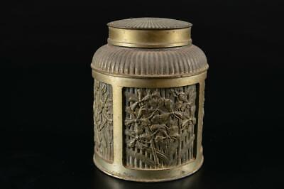 G2749: Singapore Tin Flower sculpture TEA CADDY Chaire Container Tea Ceremony