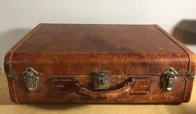 "Vintage Leather 19"" Suitcase Amazing Patina Thick Stitch"