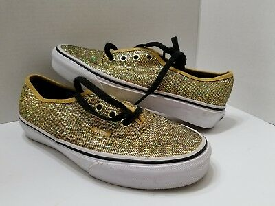 4f35787f27f1 VANS AUTHENTIC WOMEN'S Sneakers Gold Glitter Athletic Casual Comfort ...