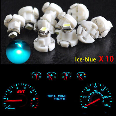 10x T4.2 Neo Wedge 1-SMD LED Cluster Instrument Dash Climate Light Bulb Ice Blue