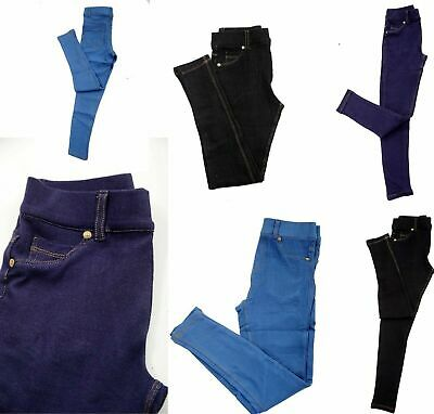 2daf961e4fc11 New Kids Girls Stretchy Jeans Jeggings Denim Look Pants Trousers Legging  Age5-12