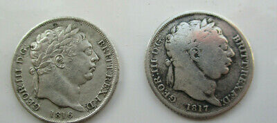 British - 1816 and 1817 George III Sixpence sterling silver .925 pure