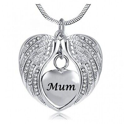 Cremation Memorial keepsake, Angel Wings heart Mum Pendant Necklace for Ashes.