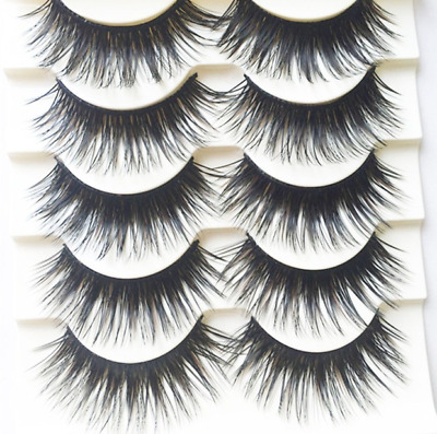 5 Pairs Dramatic False Eyelashes Strip Thick Long Wispy Volume Lashes Set UK