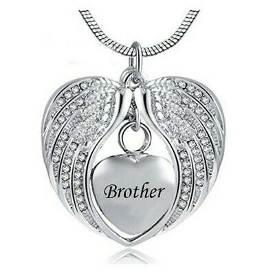 Cremation Memorial Angel Wings heart Brother Pendant Necklace for Ashes.