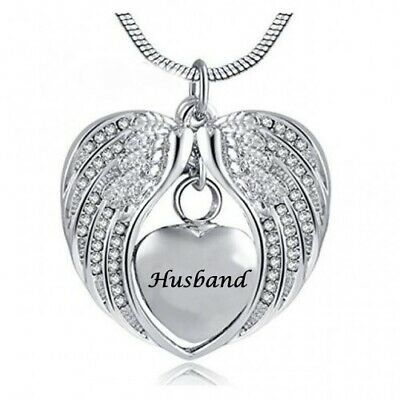 Cremation Memorial Angel Wings heart Husband Pendant Necklace for Ashes.