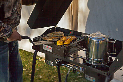 Camp Chef BBQ Barbecue Box with Lid Cast Iron Grill Removable Plate for Picnic
