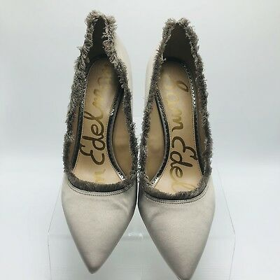 a454b02b95e3 Sam Edelman Womens Heels Shoes Satin Halan Fringe Pointy Toe Size 10 Lt  Grey (F
