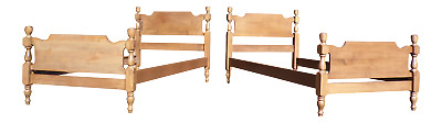 Vintage Pair Solid Maple / Birch Tulip 1/2 Poster Twin Size Beds