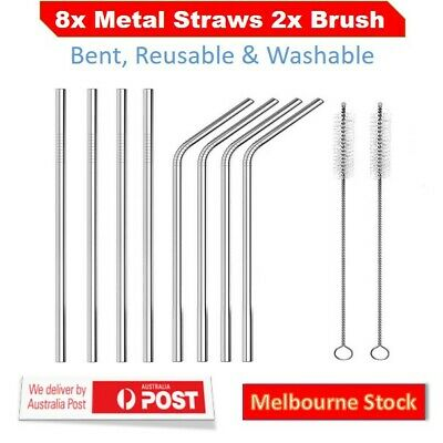 Set of 8 Stainless Steel Metal Straws 8.5'' Reusable Drinking Straws+2 Brushes