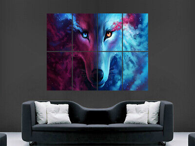 Wolf Eyes Fantasy Poster Wild Nature Animal Wall Trippy Abstract Art Print