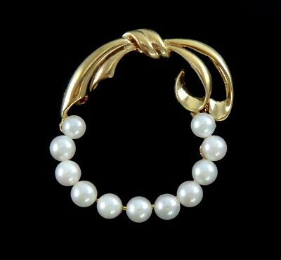 Lovely 14K Yellow Gold & Pearl Openwork Ribbon Form Pin/Brooch