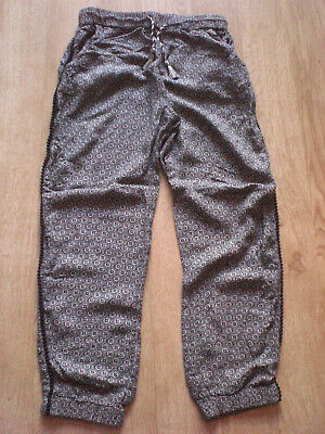 Girls Black Patterned Trousers, M&S, 9-10yrs