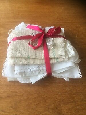 Collection Of Embroidered Linen, Runners, Pillowcases Handkerchiefs