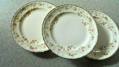 POPE GOSSER China-Roses-52 FLORENCE 3 Dessert Plates-1945-Post War-Made in USA.!