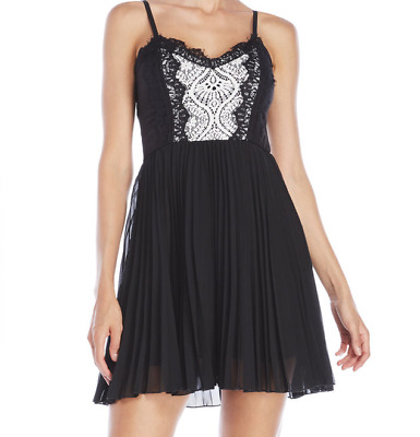 05ba3ca9c6 AS U WISH Lace Pleated Skater Dress size M Black  White NWT -  22.99 ...