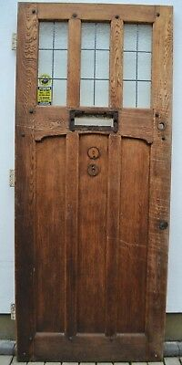Oak English leaded light stained glass style front door. R894