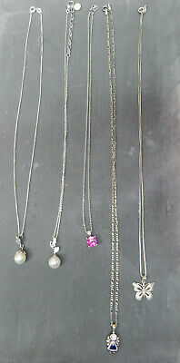 Vintage lot of 5 Sterling Necklaces with Pendents - Not Scrap