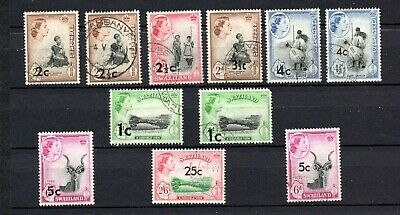 Swaziland. 1961. QEII.  A selection of used overprints.