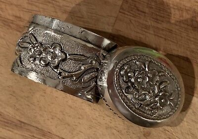 Antique Silver (?) White Metal Chinese Japanese Oriental Snuff Box Prunus Design