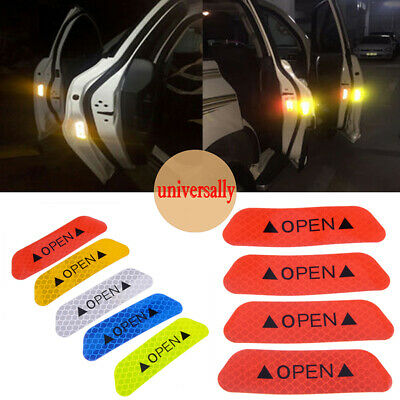4Pcs Red Car Door Open Sticker Night Super Reflective Safety Warning Sign Decal
