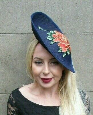Large Navy Blue Gold Orange Flower Floral Teardrop Fascinator Hat Headband 7014