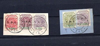 Transvaal. 1900. A selection of VRI stamps on two pieces. ZAR Cancels.