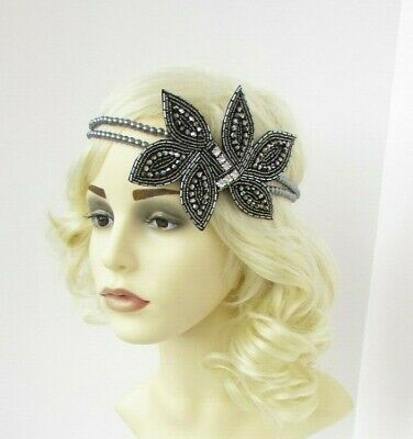Dark Grey Pewter Charcoal Silver Headband Headpiece 1920s Gatsby Flapper 7016
