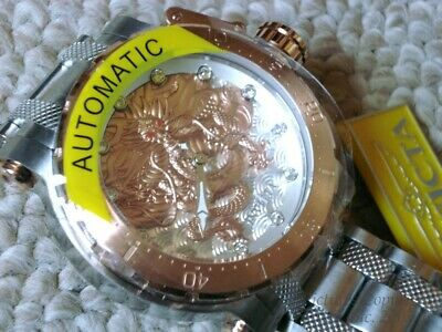 Rare New 26509 Invicta Coalition Dragon Rose Gold & Silver 52mm Automatic Watch