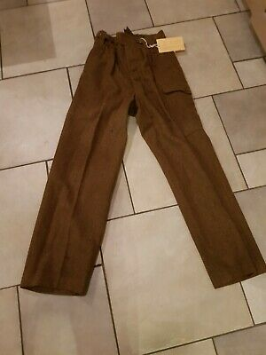 "Army Trousers (used in WW1 play) Wool c Waist 30"" (+4"") Leg 32.5"" (+1.25"")"