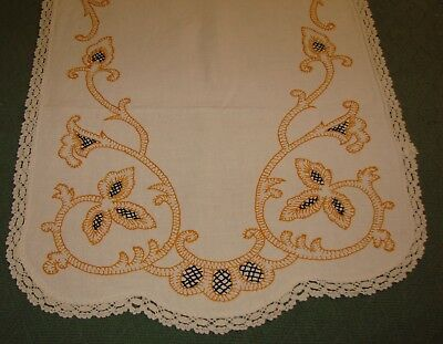 """Period Arts & Crafts, Mission Style Linen Embroidered Runner - 36"""" x 17"""""""