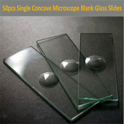 50pcs Reusable Laboratorial Single Concave Microscope Blank Glass Slides