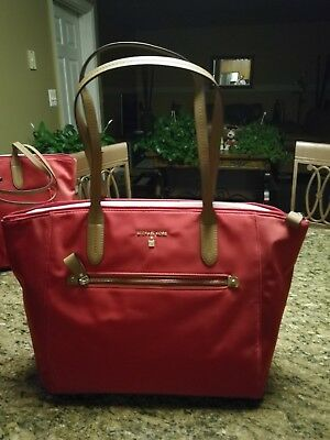 333e01a4c8 NWT Michael Kors Nylon Kelsey Large Top Zip Tote Travel Bag Bright Red