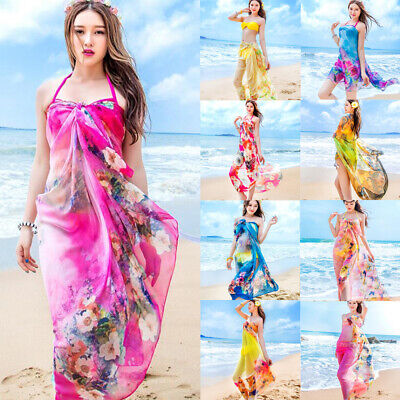 d7ede718c2 Womens Chiffon Beach Bikini Cover Up Wrap Scarf Pareo Swimwear Sarong Dress  Lot