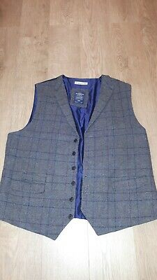 5509ebe5db3 Hammond   Co By Patrick Grant Grey Checked Waistcoat Wool Blend Size 48  Chest