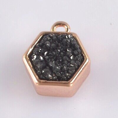 9mm Natural Agate Titanium Druzy Bezel Charm One Bail Rose Gold Plated T074982