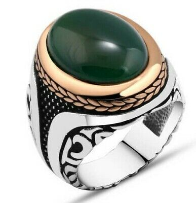 Turkish Jewelry Green Agate Aqeeq Stone 925 Sterling Silver Mens Ring All Size