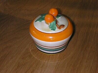 Stunning Clarice Cliff Hand Painted Banded Preserve Pot In Great Condition