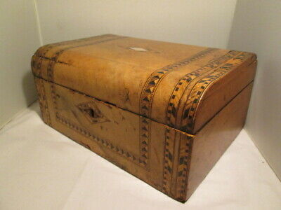 Antique Jewelry Box Inlaid art deco wooden mother of pearl Vintage Boxes keyhole